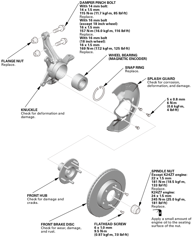 Honda Civic Service Manual - Front Knuckle/Hub Removal and