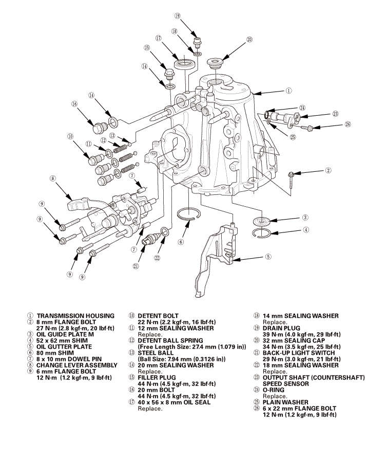 honda civic service manual: manual transmission disassembly and reassembly  (r18z1 m/t)
